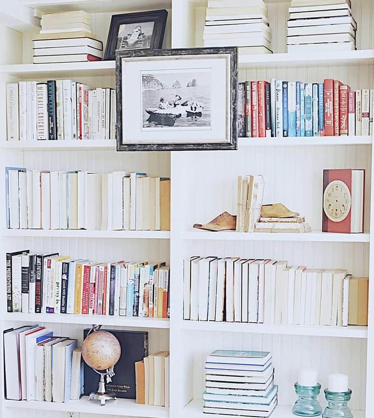 Decorated bookshelves.
