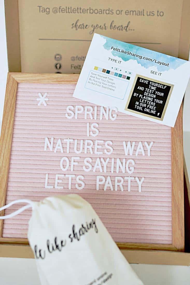Felt Letter Board in Pale Pink in packaging