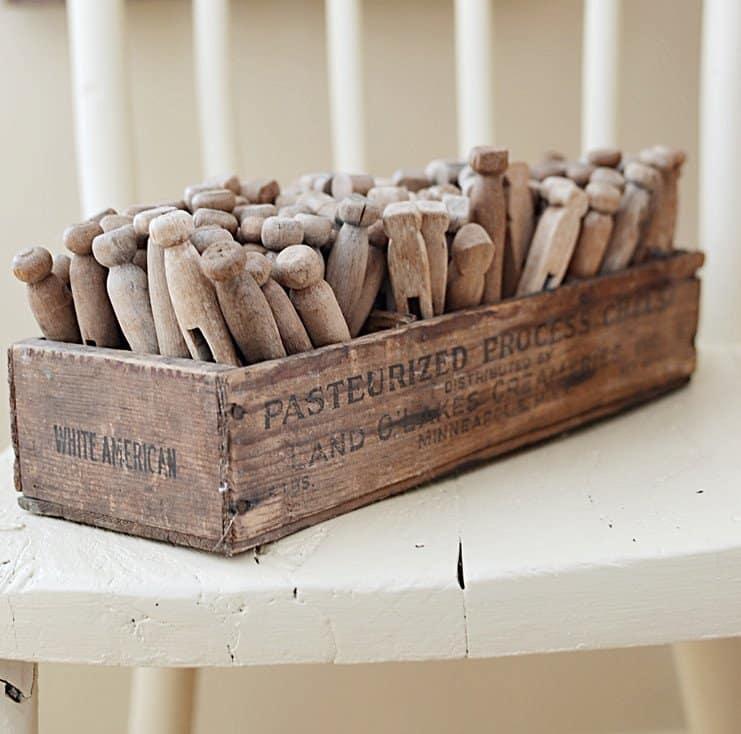 Vintage wooden clothespins.