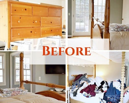 Before Photo Collage of Master Bedroom Makeover