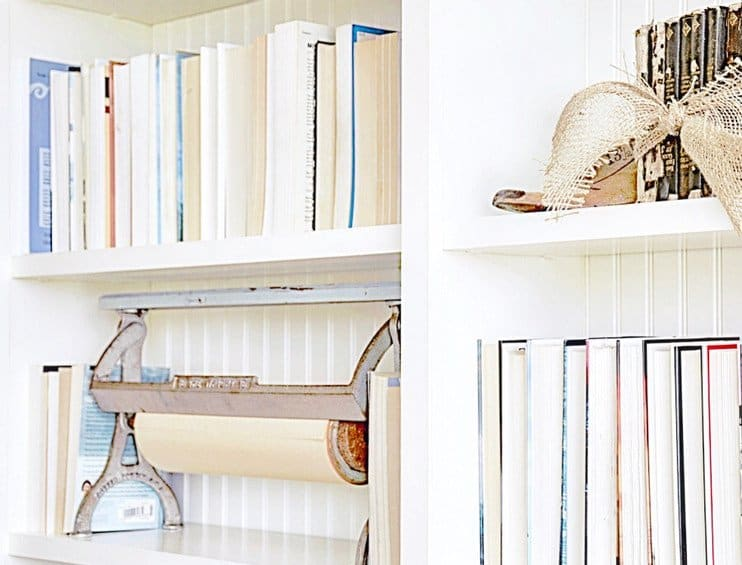 Shelfie with vintage finds and books.