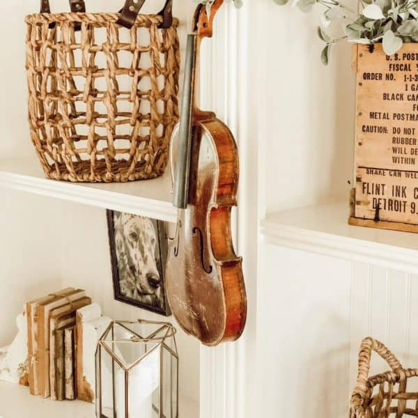 vintage style bookshelves with a violin