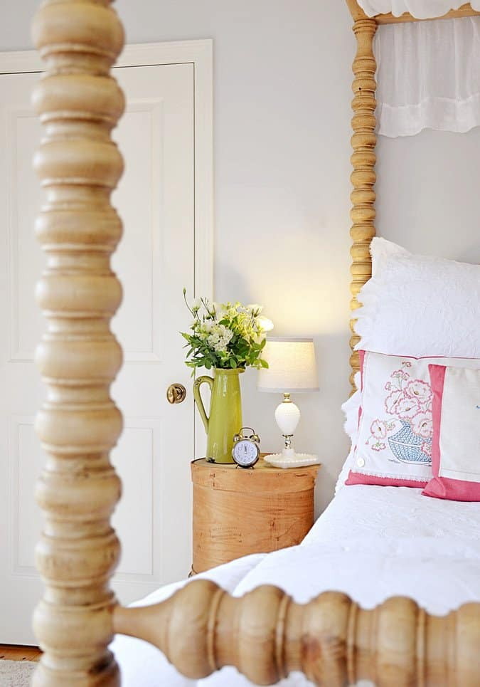 Master Bedroom with DIY Vintage Cheese Crate Bedside Table.