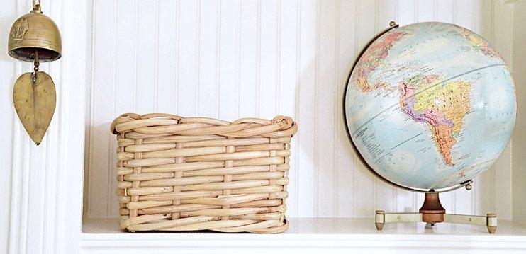 Vintage glob, basket and brass bell #shelfie