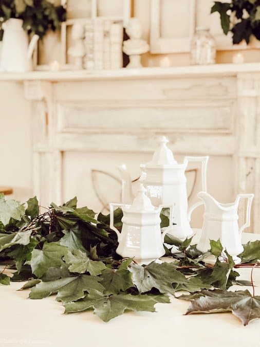 White Summer Farmhouse Mantel