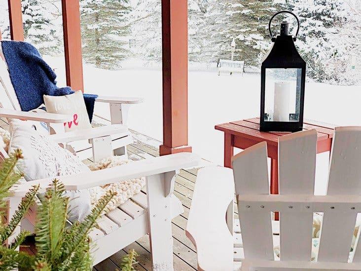 Adirondack chairs on deck.