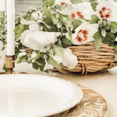 Simple Rose of Sharon Farmhouse Centerpiece