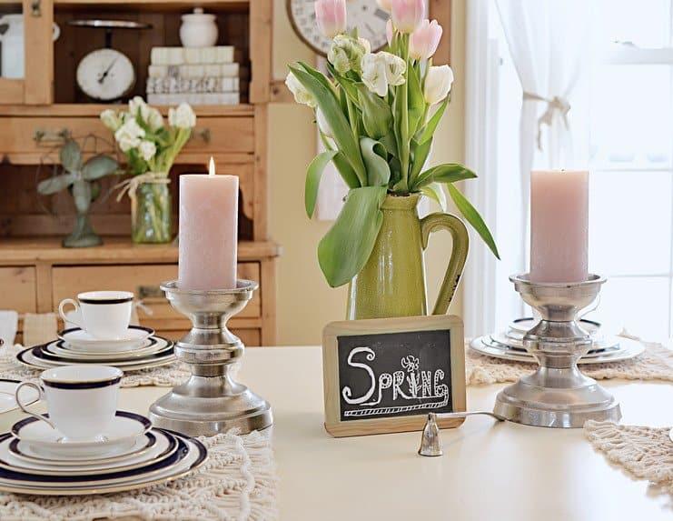 Spring dinner table with vintage finds.