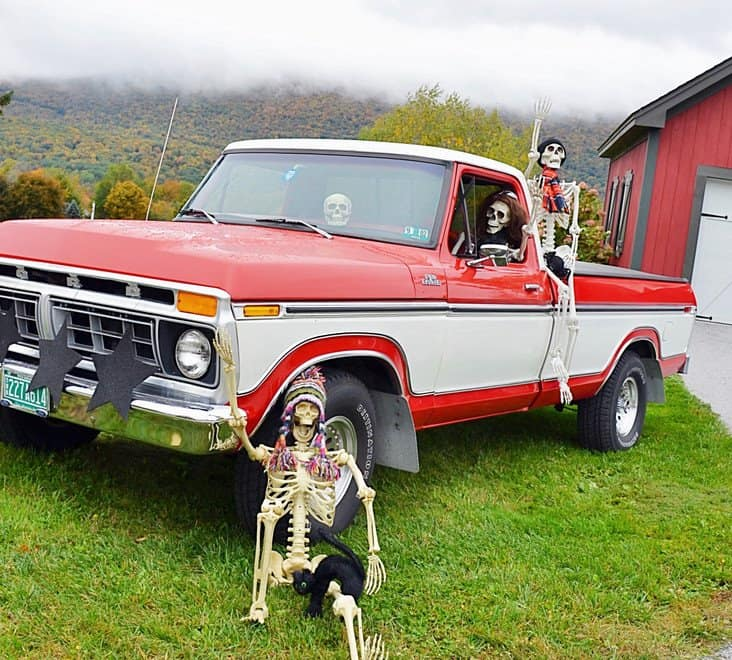 Vintage Ford Truck full of Halloween Skeletons
