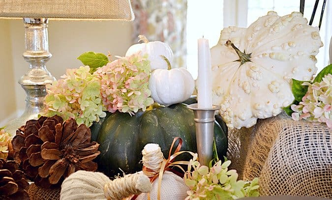 Console table decorated for fall.