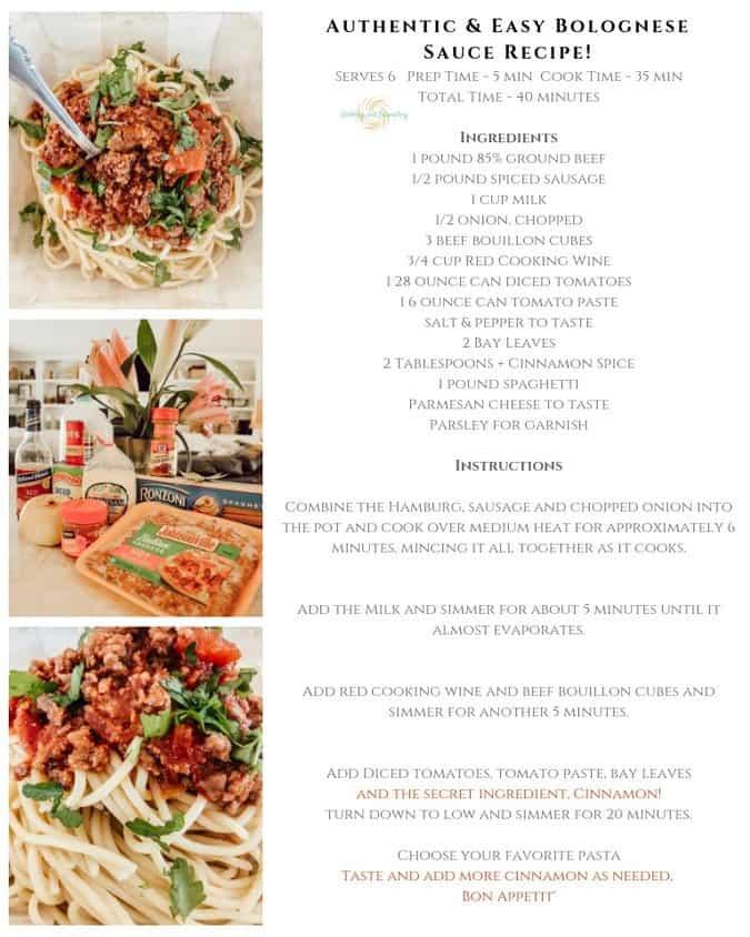 Authentic & Easy Pasta Bolognese Sauce Recipe