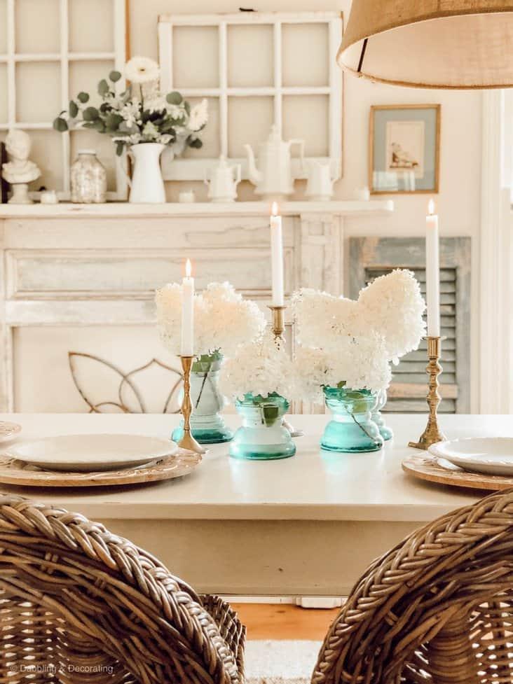 Spring Hydrangea Table Centerpiece