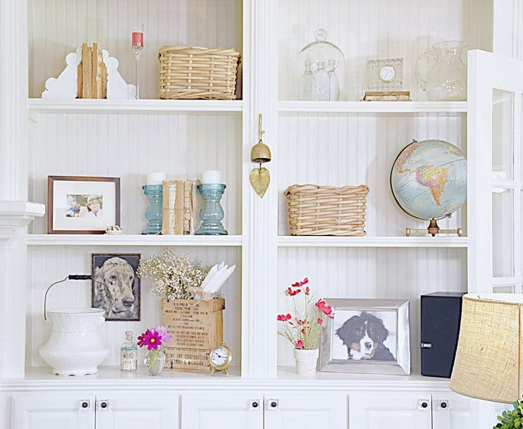 Builtin shelves designed in vintage style.