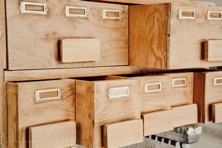Vintage Card Catalog Repurposed