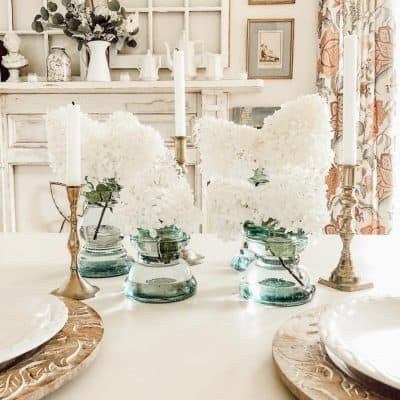 Spring Hydrangea Table Centerpiece