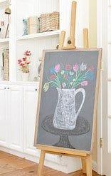 Vintage spring chalkboard art on an easel.