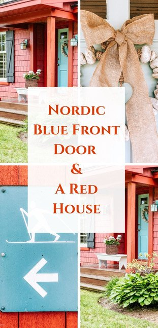Nordic Blue Front Door on a Rustic Red House