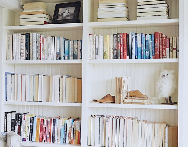 Built-In shelving decorated with books and vintage finds.
