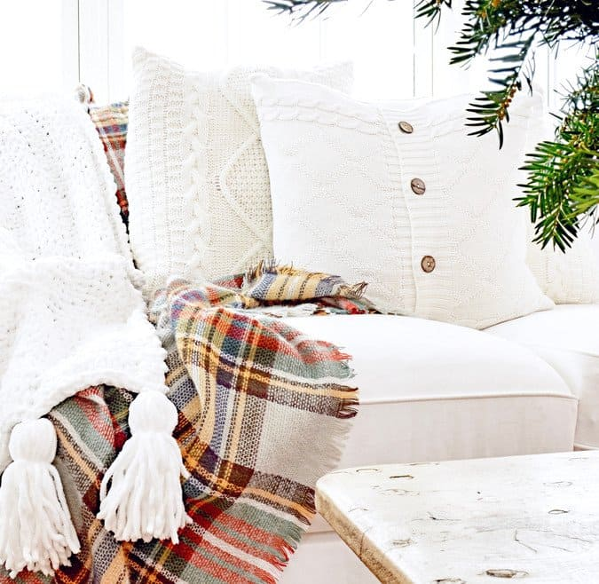 Simple Christmas Winter White Decor in the Sunroom.