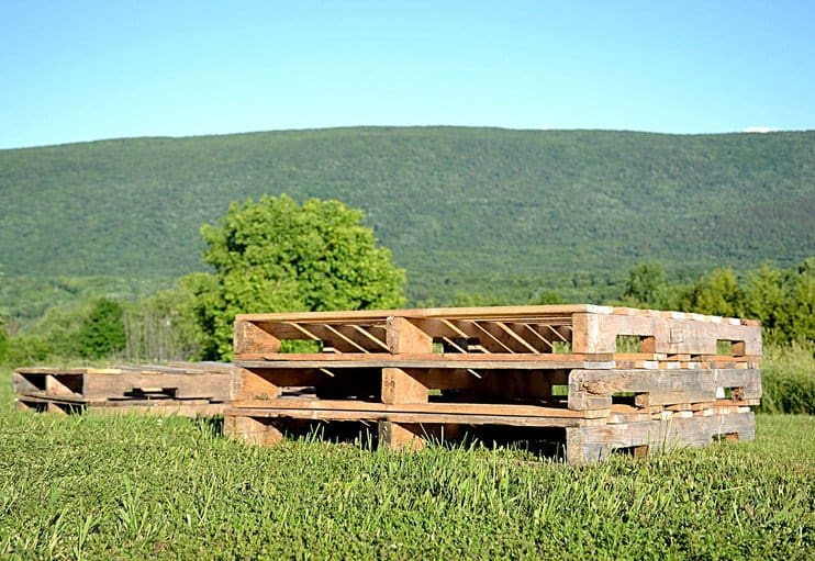 Pallets in the mountains.