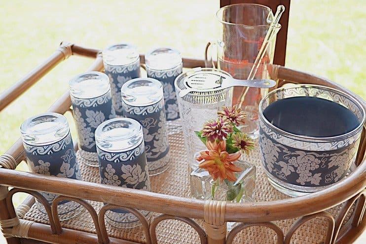 Vintage Wedgwood Jasperware glass cocktail set.