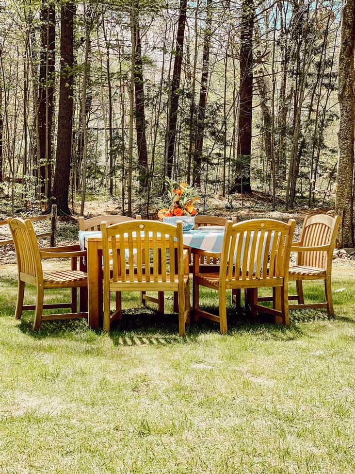 Outdoor Teak Table and Centerpiece