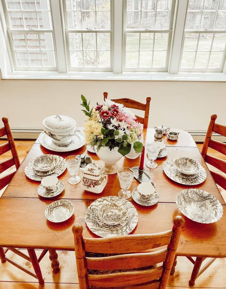 Brown and White Antique Transferware Dish Collection