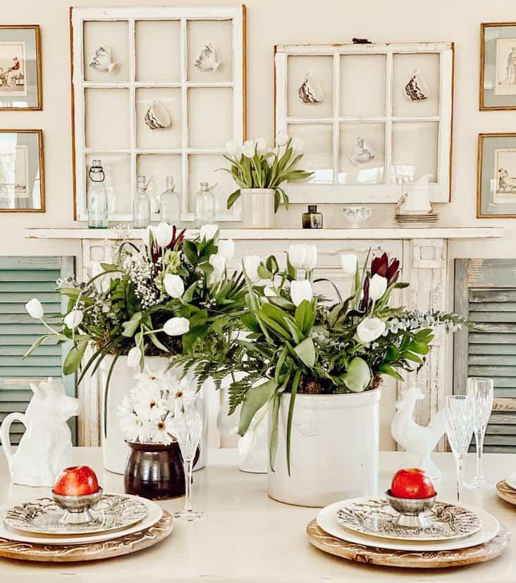 Antique Crocks & White Tulips