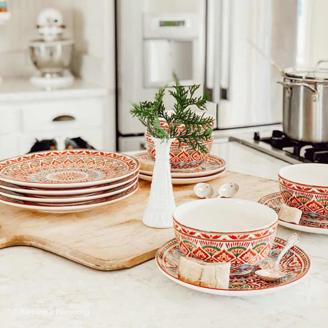 red dishes on a kitchen counter