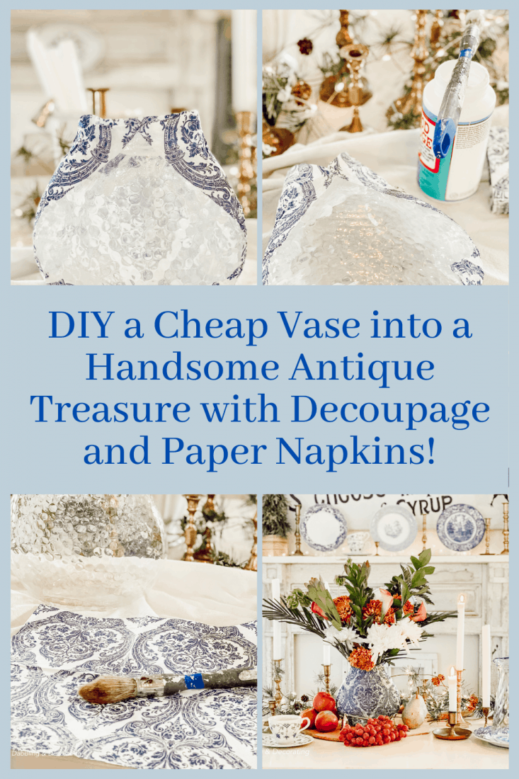 DIY a Cheap Vase into a Handsome Antique Treasure with Decoupage and Paper Napkins