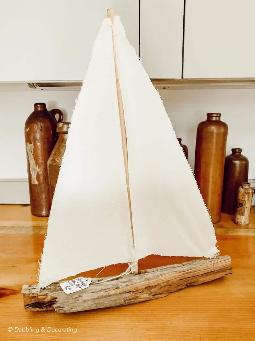 A driftwood sailboat