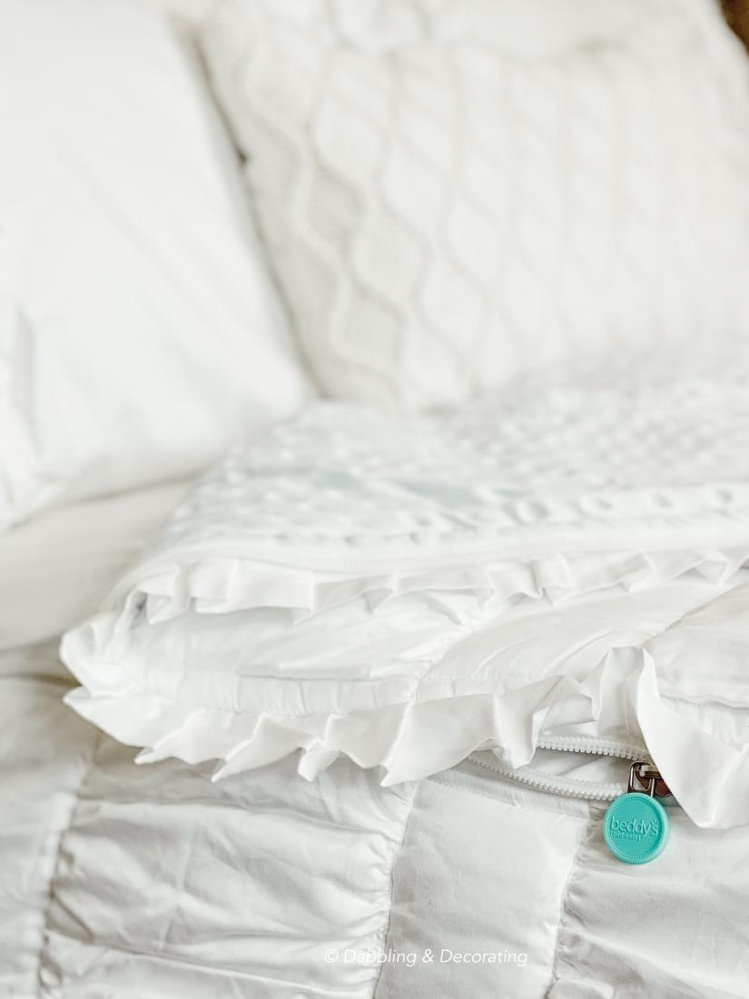 A pillow on a bed