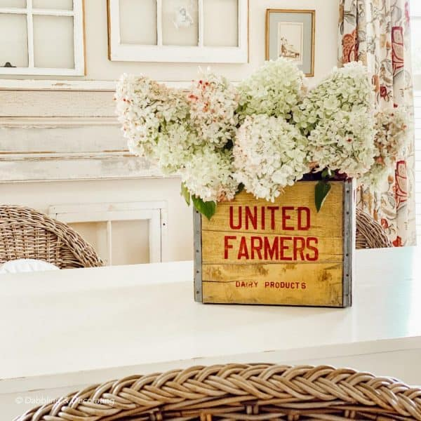 a vintage yellow crate with hydrangeas