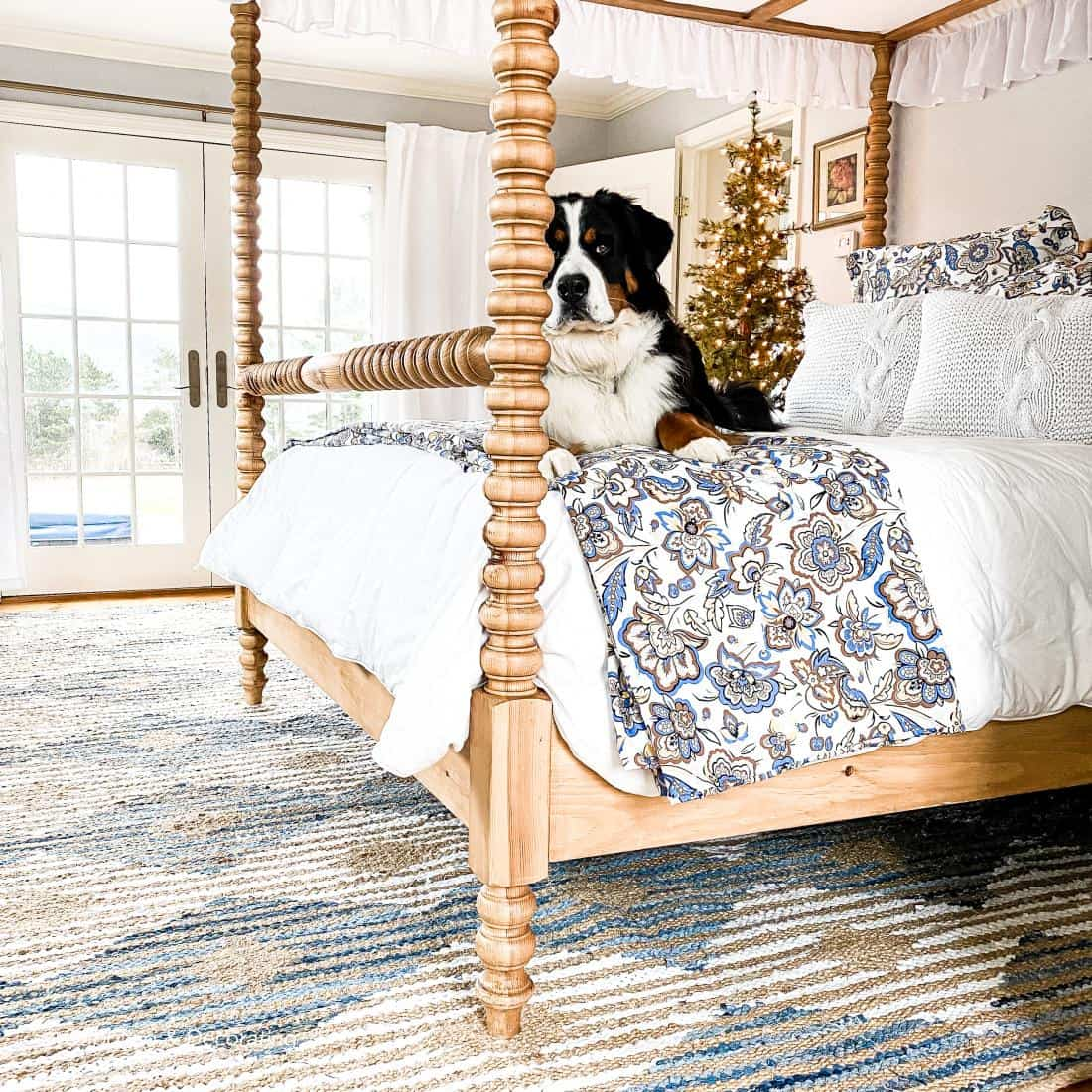 White And Blue Hand Braided Denim And Jute Striped Diamonds Area Rug From Rugs USA