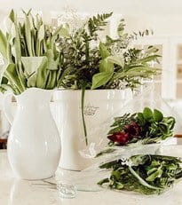 Antique Crocks with White Tulips