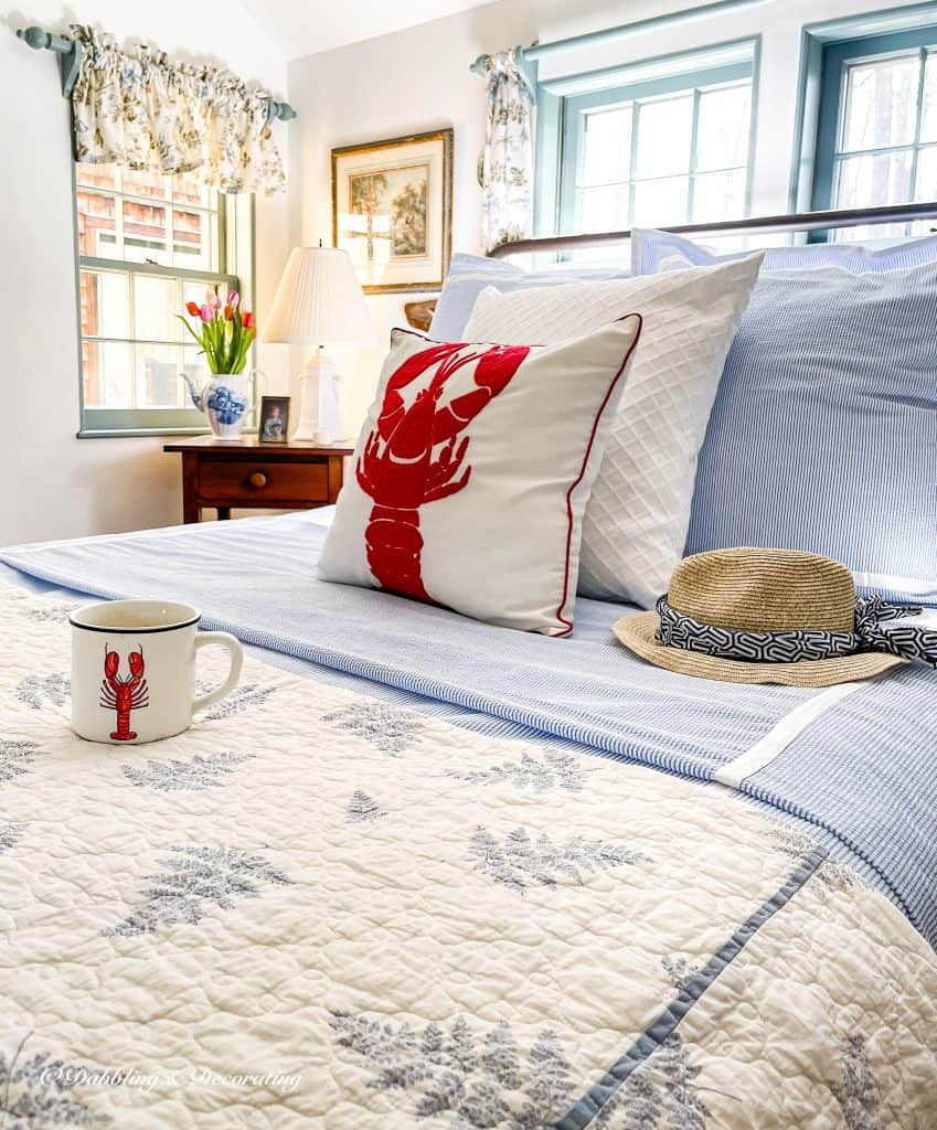 Coastal Bedroom with Dreamy Seersucker Bedding