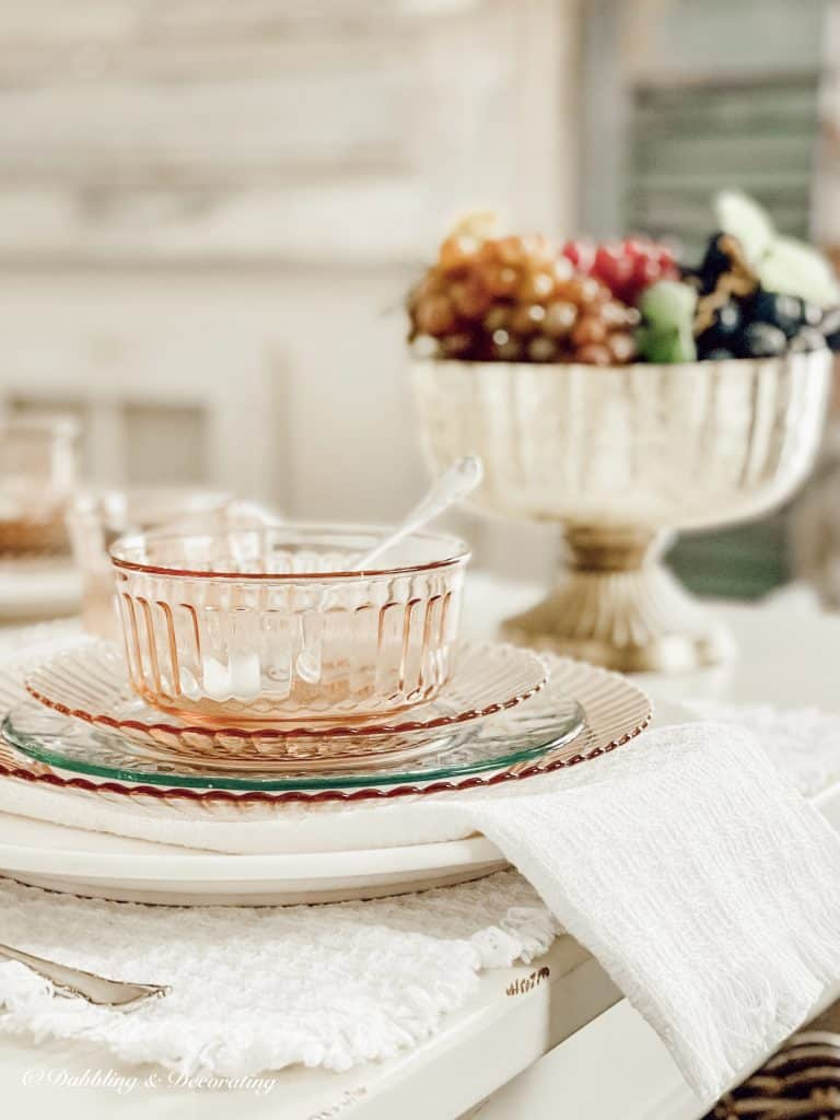 Depression Glass Cherry Blossom Pink Table setting.