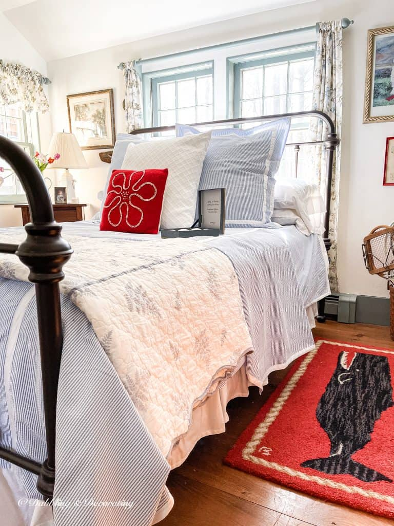 Coastal Styled Guest Bedroom with Seersucker Bedding.