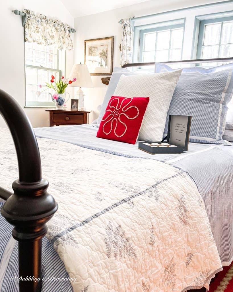Seersucker bedding in coastal styled bedroom.
