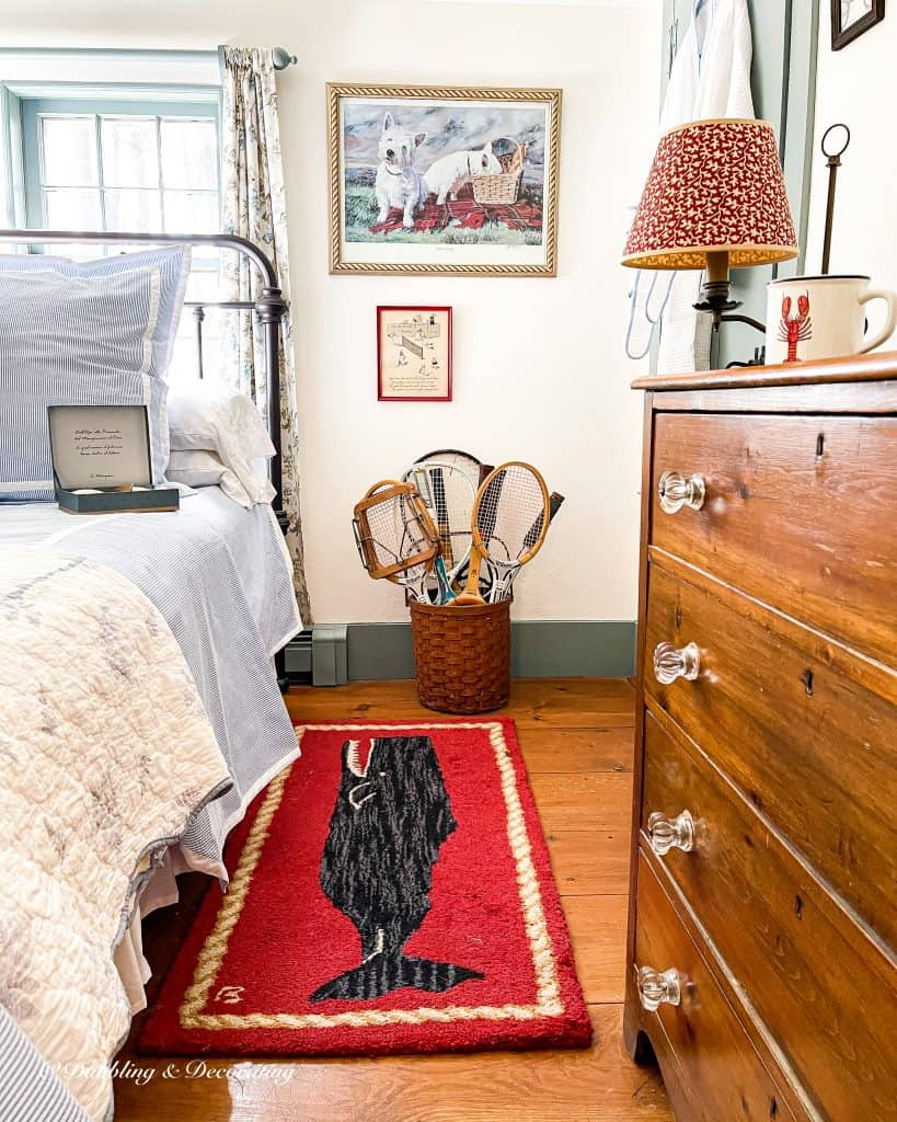 Coastal guest berdroom with vintage and seersucker bedding.