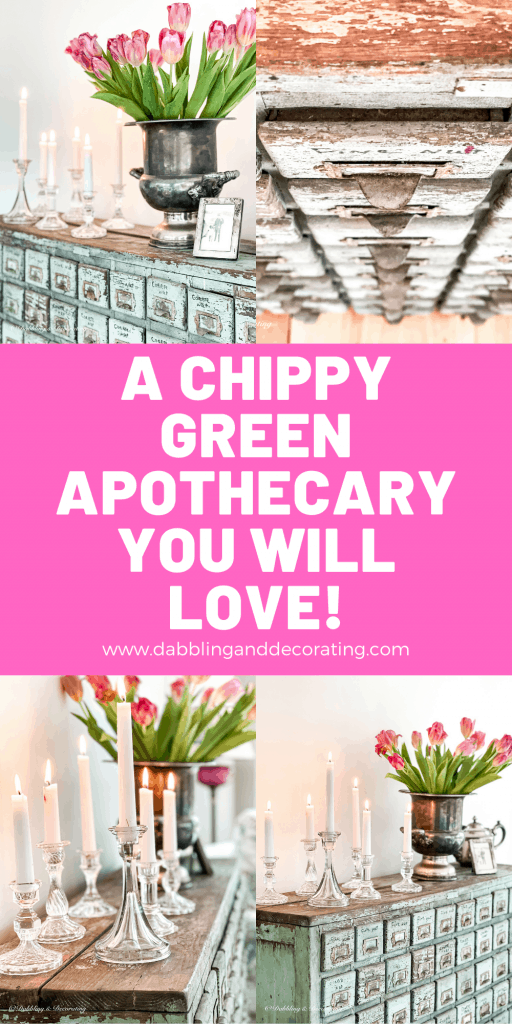 A Chippy Green Apothecary Cabinet.