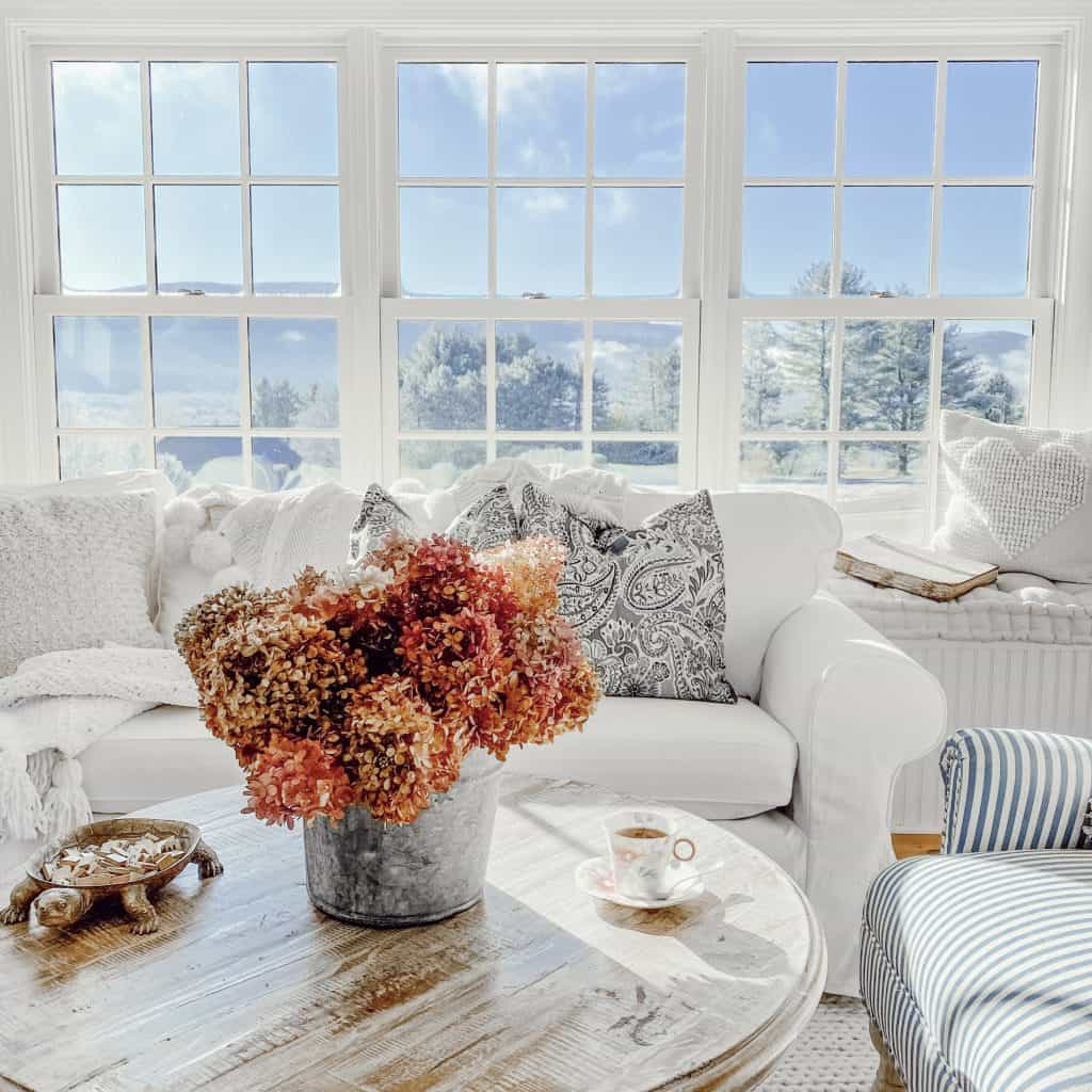 Sunroom looking out at the mountain views.