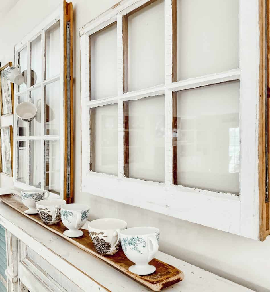 Vintage Windows over Mantel.