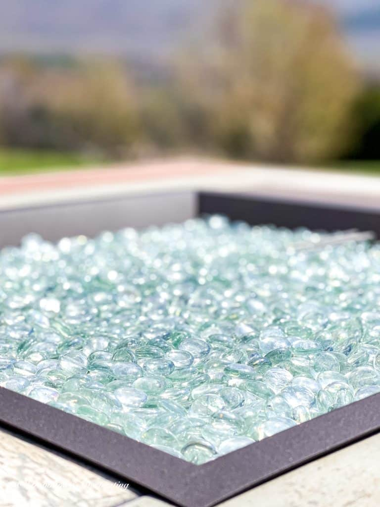 Glass top of fire pit