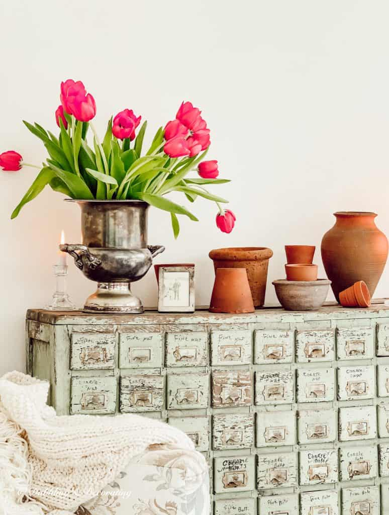Terracotta Pots and an Apothecary Cabinet