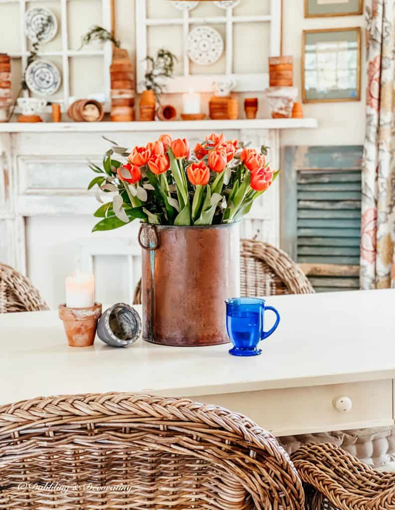 Decorating with tulips and terracotta pots.