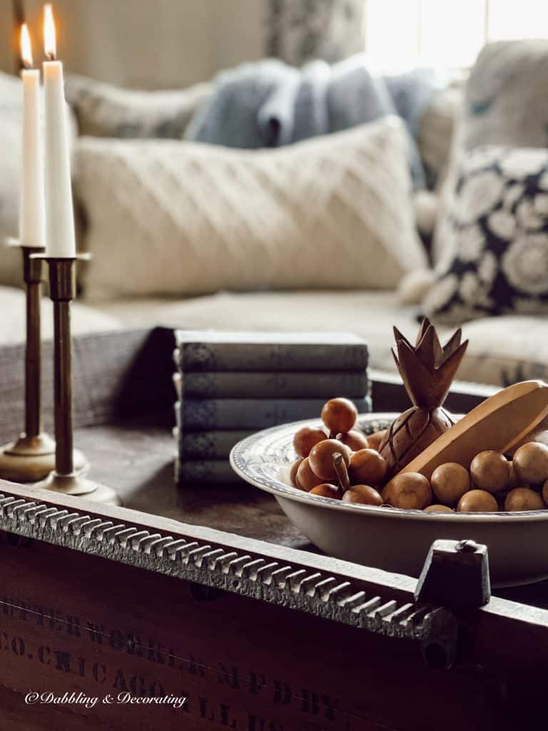 Coffee table with vintage finds.  Best Thrift Finds ~ Thrifting with the Gals