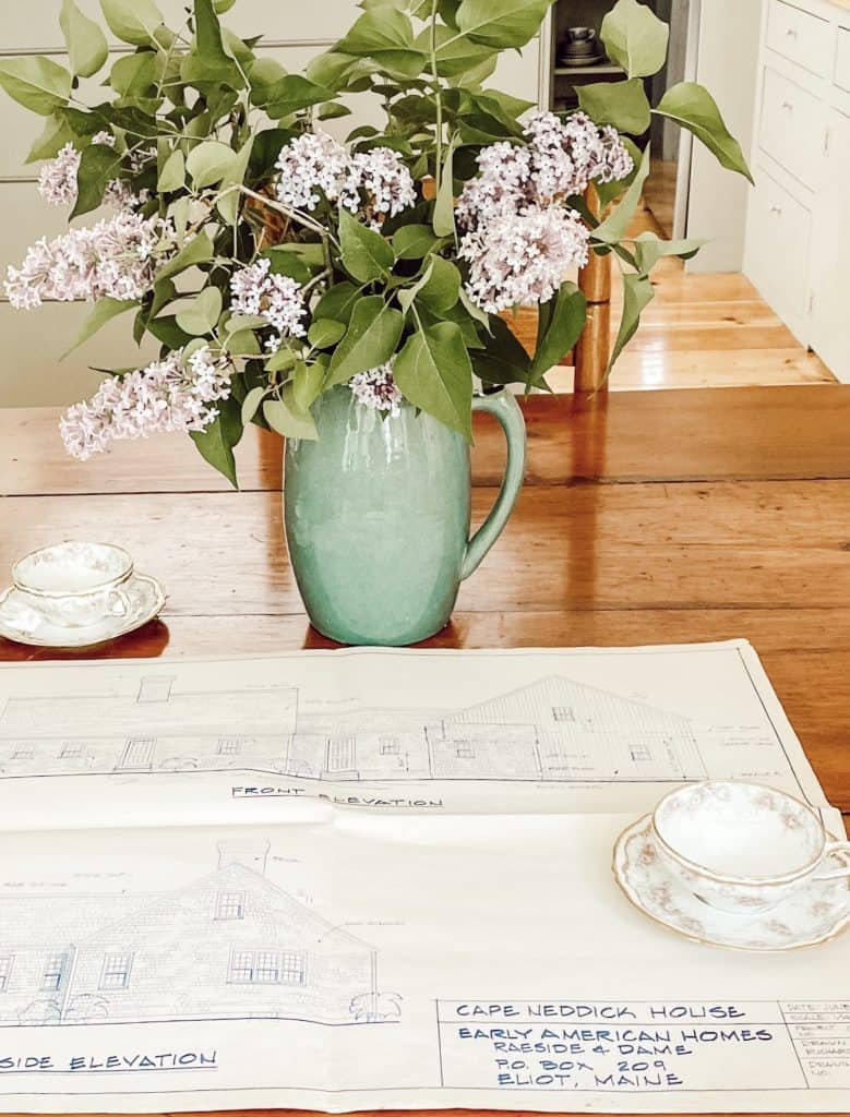 Architectural Drawings of Maine Home.  Bouquet of Lilacs.