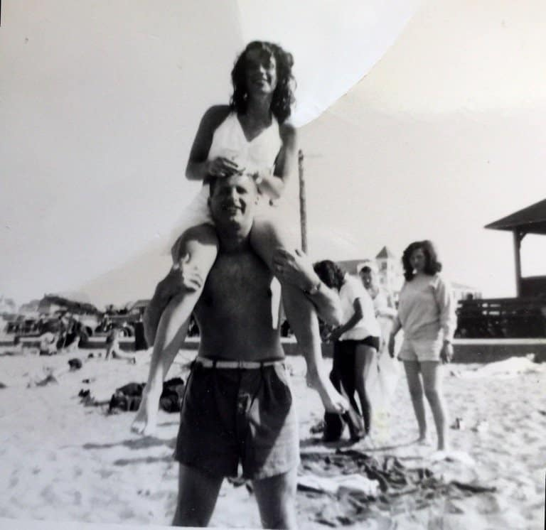 My mother on my father's shoulders in their 20's at Short Sands Beach, Maine.