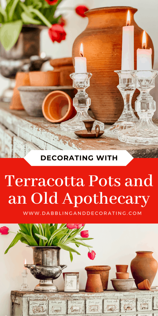 Decorating with Terracotta Pots and an Old Apothecary
